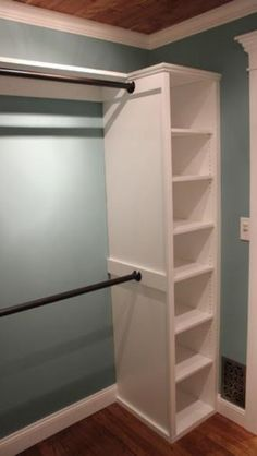 Closet. Attach rods to shelves.