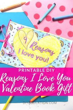 Dad will love getting this printable DIY Reasons I Love You Valentine book gift from the kiddos! It's a sweet way to let him know how much he means to you. Straw Valentine, Valentine Day Crafts, Be My Valentine, Holiday Crafts, Diy Card Box, Gift Card Boxes, Valentine's Day Quotes, I Love Diy, Reasons I Love You