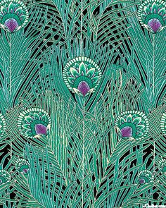 Peacock - Decorative Feathers - Teal Cotton Lawn - at eQuilter.com