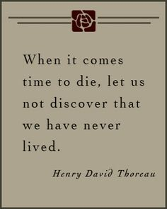 "i absolutely love thoreau. i fear death, i really do. but i think the reason i fear death is that i'm worried that when it comes time to die, i will look back and realize ""wait! have i done enough? said enough? what if....??"" this quote summarizes my feelings perfectly."