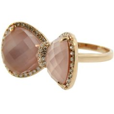 Pre-owned 14K Rose Gold Bow Tie Cocktail Ring (5 565 SEK) ❤ liked on Polyvore