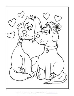 Dogs Valentines Day Coloring Page