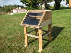 Solar Food Dehydrator (Dryer). Dry your fruit, vegetables, and other goods with your own sun powered dehydrator. Electric Food Dehydrators can be expensive and consume unnecessary energy. This solar dehydrator was made entirely of recovered materials. It was constructed with scrap ply wood, 2x4s from an old ladder, a house window, and other items which could be considered trash. It was created as a project at Maharishi University of Management in Fairfield, Iowa.