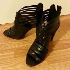 NEW Mossimo Black Woven Heels 8.5 M #Mossimo #OpenToe