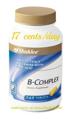 Feeling stressed and need more energy, try Shaklee's B-Complex. Just 17 cents a day. Also great for hair growth! Folic acid is on coating to ensure optimal absorption!