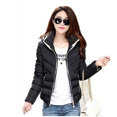 b91cdc18f4ba 2018 New Winter Women Cotton Short Jacket Female Autumn Outerwear Winter  Jacket Fashion Girls Padded Slim Hooded Warm Parkas-in Parkas from Women's  Clothing ...