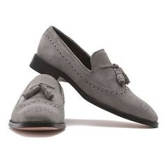 Handmade Men's Loafer Tussles Shoes, Men's Gray Suede Loafer Slip on Shoes. from - Handmade Men's Loafer Tussles Shoes, Men's Gray Suede Loafer Slip on Shoes. Grey Loafers, Tassel Loafers, Suede Loafers, Brogues, Suede Shoes, Slip On Shoes, Loafers Men, Brogue Shoe, Leather Dress Shoes