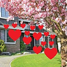 Valentine S Lawn Decorations Hanging Hearts Set Of 14