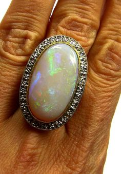 Huge AUTHENTIC Antique Vintage OPAL DIAMOND Cluster Cocktail Ring 18k Yellow Gold, Circa 1940s on Etsy, $4,500.00