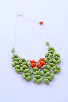 Apple Green and Orange Paper Bead Statement by LasAguasVerdes