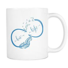 Love and Light Infinity Bohemian Feathers Yoga Inspired * White 11oz. Coffee Mug