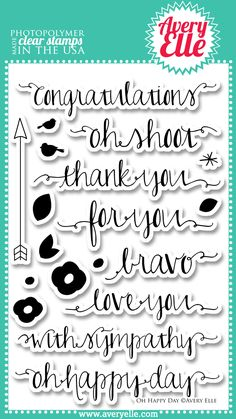 Avery Elle  - Oh Happy Day Photopolymer Stamps, $15.00 (http://www.averyelle.com/oh-happy-day-photopolymer-stamps/)