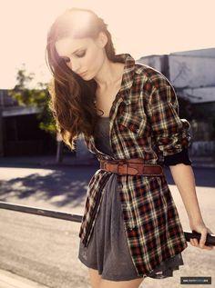 aa34284aa1 belted plaid shirt over dress. Plaid shirt as a cardigan