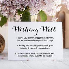 Printable Wedding Wishing Well card any colour Wishing Well Wedding Gift Poem, Wedding Gift Registry, Wedding Wishes, Our Wedding, Wedding Gifts, Wedding Rsvp, Wedding Things, Wedding Stuff, Dream Wedding
