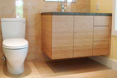 Custom Bamboo Cabinet & TOTO Toilet
