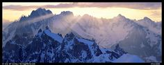Rugged peaks of the Mont-Blanc Range. France (color) and lightning.