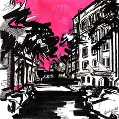 Wilcox ave. - ink on paper by Gianluca Dal Bianco cm.  20x20