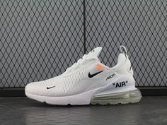 Off white x Nike Air Max 270 OW White Black Orange Women Men Nike Shoes For Sale, Sneakers For Sale, Running Shoes For Men, New Nike Air, Nike Air Max, Air Max Women, Air Max 270, White Nikes, Air Jordan Shoes