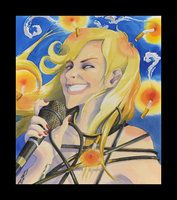 """October, watercolor and gouache on illustration board; x Interpretive portrait of someone famous. Subject: lead singer of Swedish rock group, """"The Sounds. Rock Groups, Gouache, October, My Arts, Singer, Deviantart, Watercolor, Portrait, Board"""