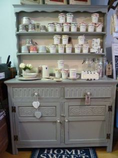"""Upcycled Vintage Dresser -  Farrow and Ball """"Tallow and Manor House Grey"""""""""""