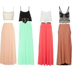 Summer Maxi Mix by carrie2197 on Polyvore - love the high waist skirt with a cropped top!!!