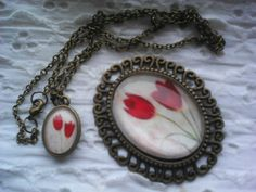 Vintage flowers oval glass pendant neklace, brooch in bronz by kybarbi_product_meska.hu