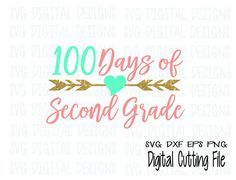 100 Days of Second Grade Svg, 2nd Grade Milestone Clipart Cut files Svg Dxf Eps Png files for Silhouette and Cricut SVG Digital Design The Complete Set Can be Found Here: https://www.etsy.com/listing/514666512/100-days-of-school-svg-set-hundred-day Provided in 4 Different file types to cover your different uses & needs!! These files are specifically designed for CLEAN CUTS & EASE OF USE .... great for card making, scrapbooking, paper crafting, templates, HTV...