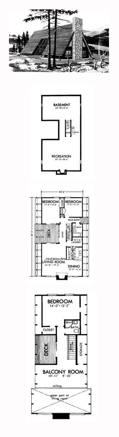 A-Frame Style COOL House Plan ID: chp-40622 | Total Living Area: 1635 sq. ft., 3 bedrooms and 2 bathrooms. #aframehome