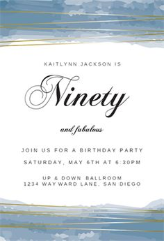 Fabulous Ninety printable invitation template. Customize, add text and photos.  Print, download, send online or order printed!  #invitations #printable #diy #template #birthday #party