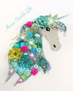 "Unicorn Button art in shades of teal, green and aqua and a bit of pink to make the colours ""pop"""