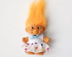 Rare Vintage Russ Berrie 3 inch Troll Doll, Orange Hair, BEE 1992, 00964