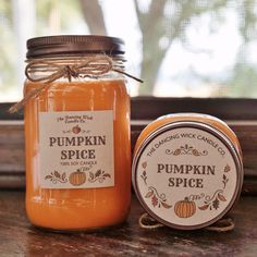 Pumpkin Spice Pure Soy Candle //Large Pint 16 oz.// Half Pint 8 oz candle/Mason Jar Candle/Hand Poured//Fall Candle//Autumn Candle by TheDancingWick on Etsy https://www.etsy.com/listing/244417404/pumpkin-spice-pure-soy-candle-large-pint