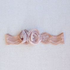 nude stretch garter  chiffon rose blossoms