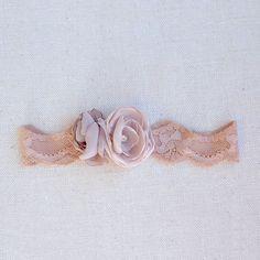 nude stretch garter  chiffon rose blossoms