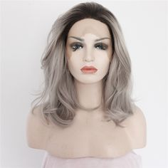14 inch Long Chic Ombre Messy Bob Lace Front Wig #lacefrontwig #wig