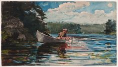 Winslow Homer (United States of America, 1836-1910), Pickerel Fishing, watercolor on wove paper, 11 1/4 x 20 inches. Bequest of Charles Shipman Payson, 1988.55.11