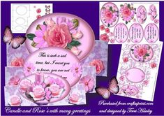 candles and rose s with greetings on Craftsuprint designed by Terri Hawley - This is a very pretty 3D folded card, with lots of different sentiments, one for birthday, get well, fantastic news, sad time, and a blank so you can add your own. - Now available for download!