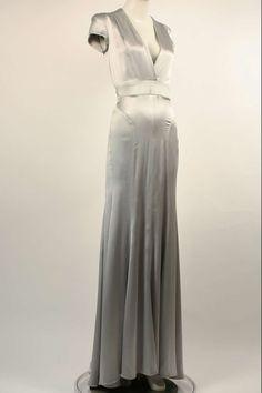 2b6ef56a9d2 Gianni Versace Couture 90s Cut-Out Matte Silver Liquid Satin Gown Dress  Wedding