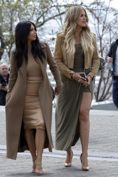 Khloe Kardashian wearing Christian Louboutin So Kate Pumps in Nats, Clare Vivier Bicolor-Stripe Camo-Print Clutch and Jaide Clothing Olive Knot Drape Maxi Skirt