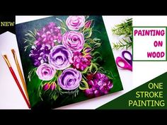 Quick and easy Floral painting on wood - One stroke painting flowers | Acrylic painting | DIY - YouTube