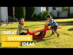 Build a seesaw/teeter totter for the kids using an old tire.