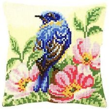 "Vervaco BIRD ON ROSE BUSH Chunky Cross Stitch Cushion Front Kit 16"" x 16"""