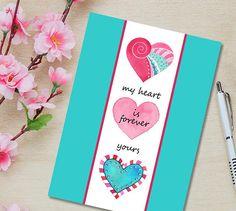 Valentines Day Card Printable Digital Download Print Heart