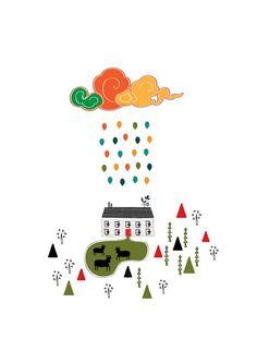 Lovely Farm Colorful Cloud Rain Illustration by dekanimal on etsy