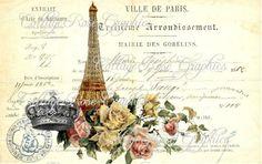 Large digital download Ville de Paris by CottageRoseGraphics, $3.75