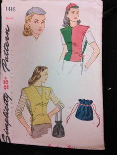 Patron de couture gilet de simplicité 1416 chapeau Vintage sac à main des années 1940 40 s taille petite