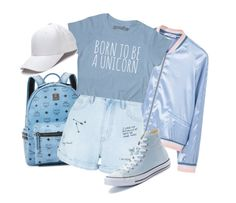 """""""favorite color"""" by riley-meow ❤ liked on Polyvore featuring MANGO, MCM, New Look and Converse"""