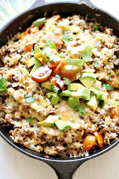 super fast, super easy, and delicious Mexican skillet dinner