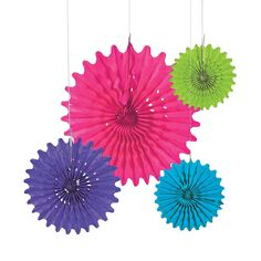 Bright Tissue Hanging Fans - OrientalTrading.com Prom Decor, Engagement Party Decorations, Bright Spring, Diy Photo Booth Backdrop, Hanging Paper Lanterns, Troll Party, Party Places, Paper Fans, Ceiling Decor