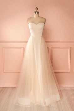 Simple tulle champagne long prom dress, light champagne tulle long evening dress